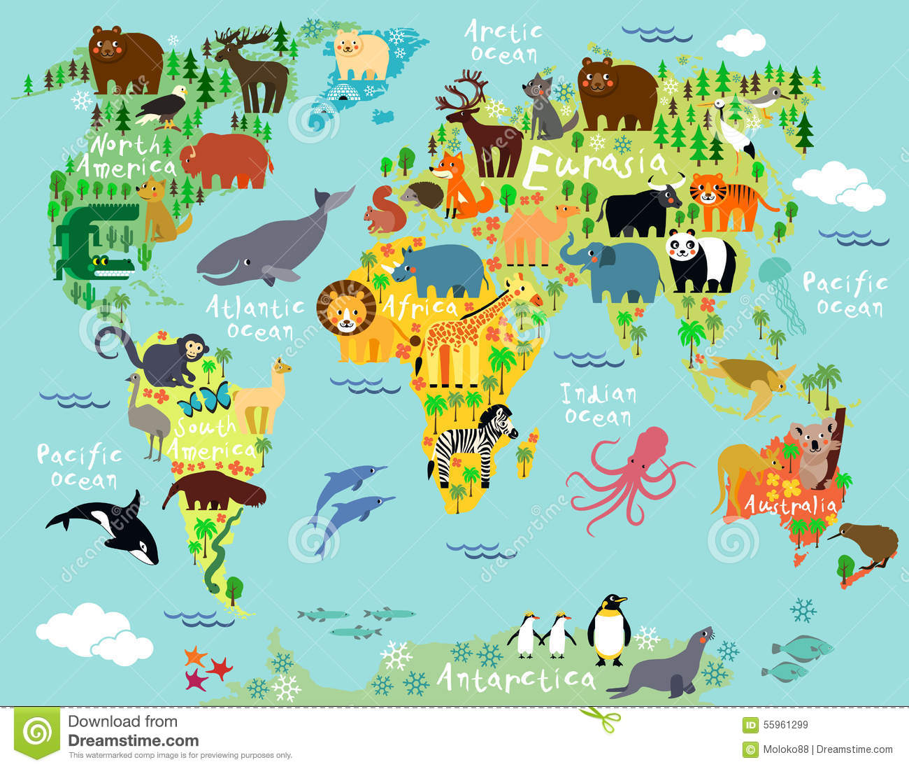 World Map Stock Vector Image Of Australia Madagascar