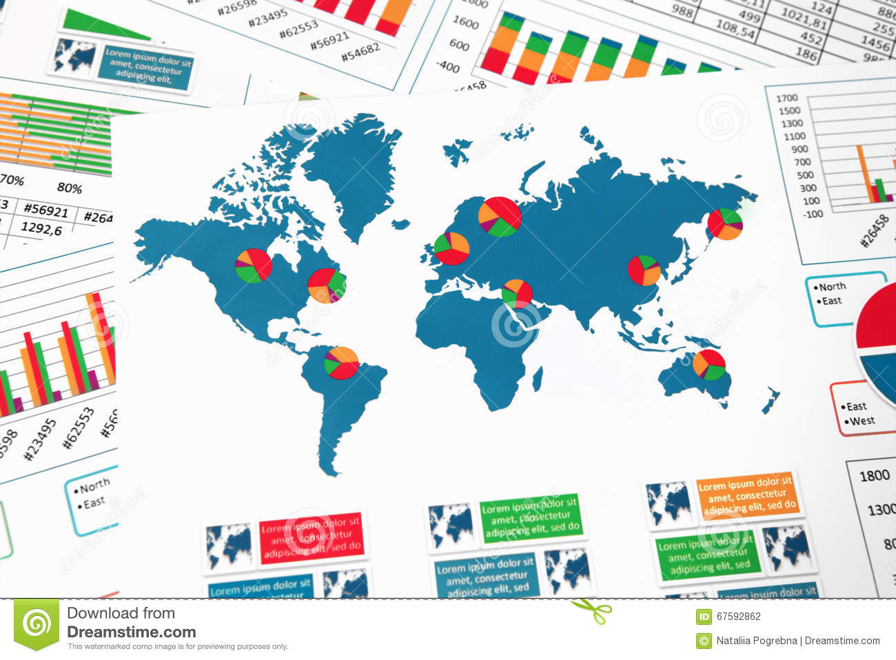 World Map With Charts Graphs And Diagrams Stock Photo