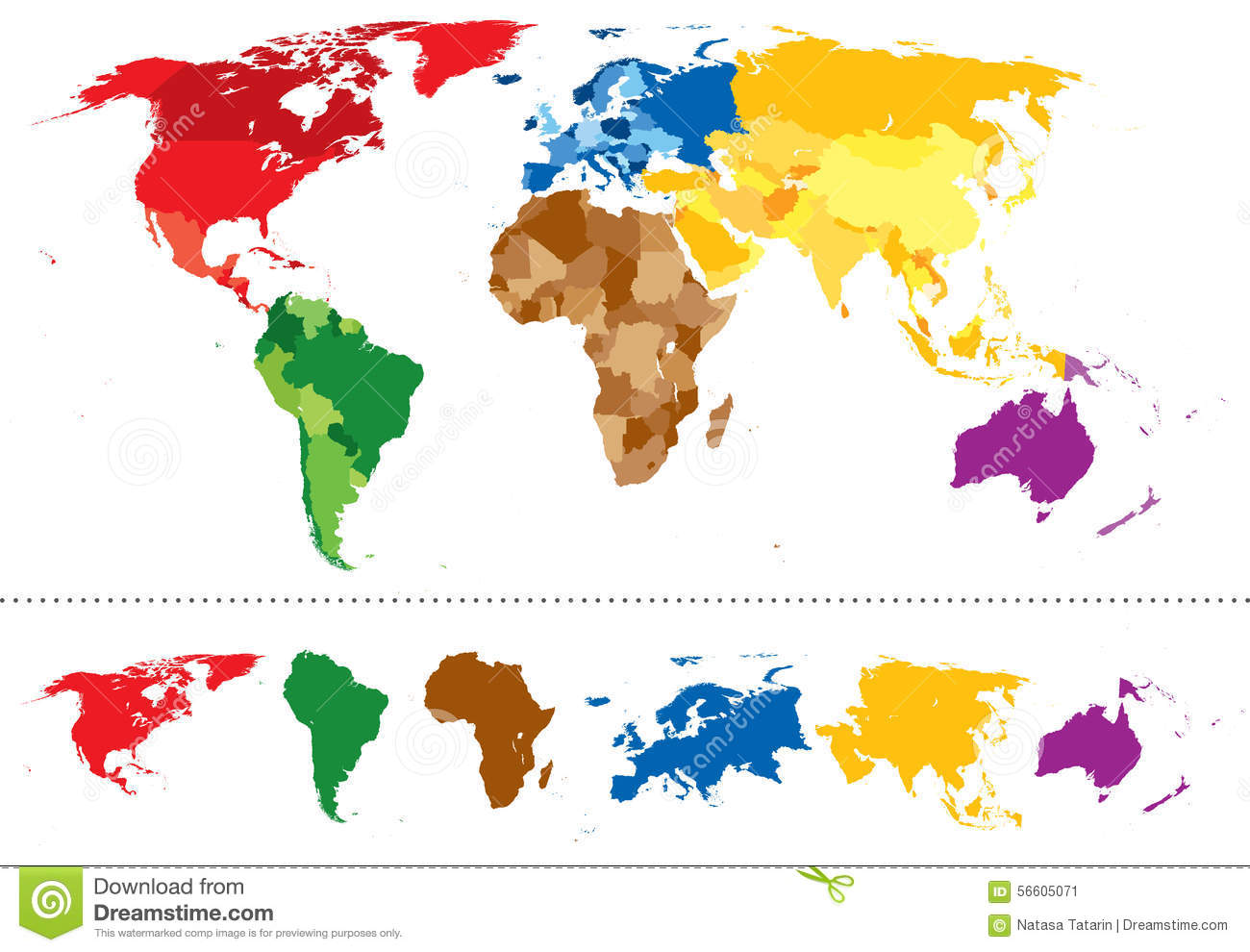 World Map Continents Multicolored Stock Vector