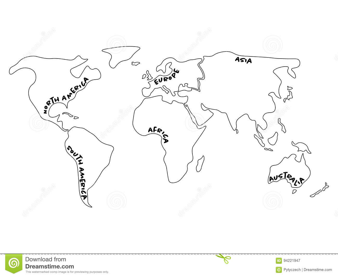 World Map Divided To Six Continents