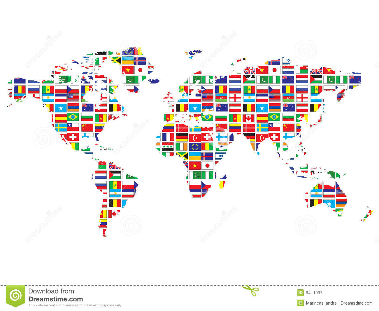 World Map With Flags Stock Vector Illustration Of Global