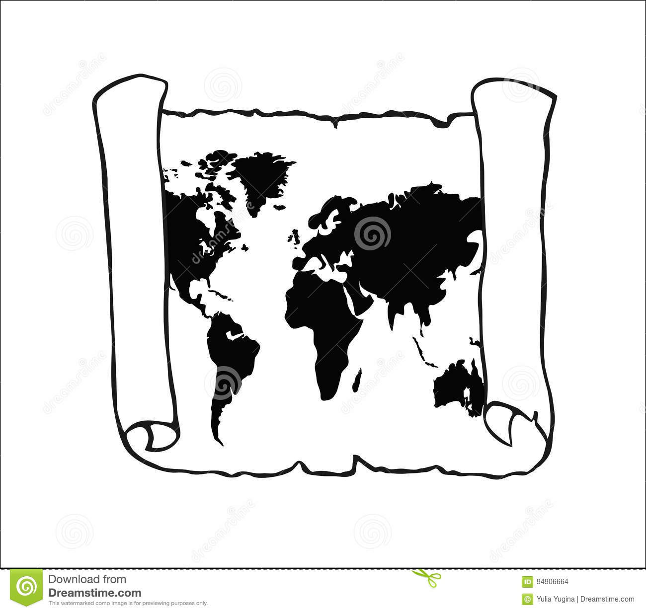 World Map On Old Papyrus Stock Vector Illustration Of