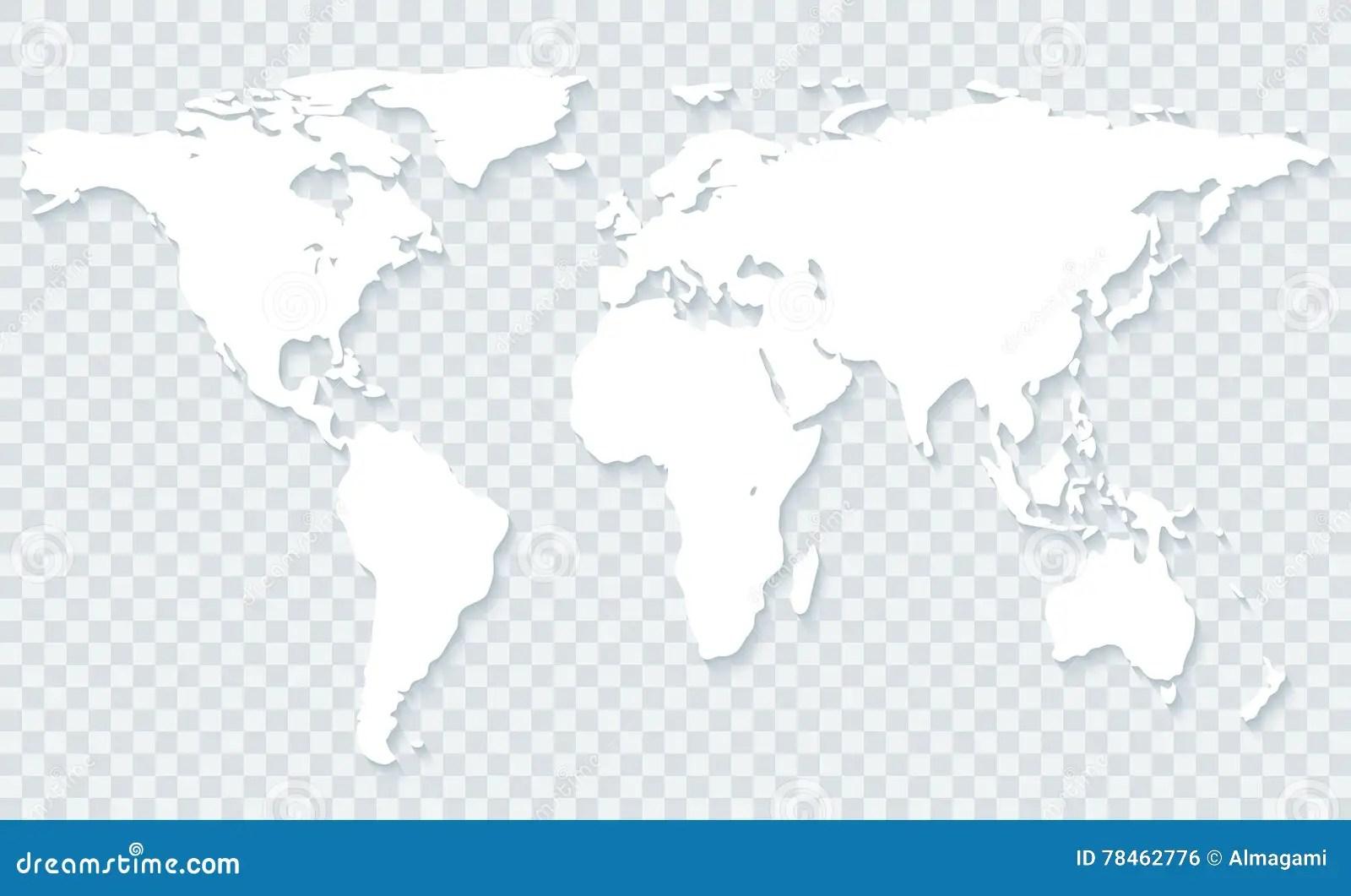 World Map On Transparent Background Stock Photo