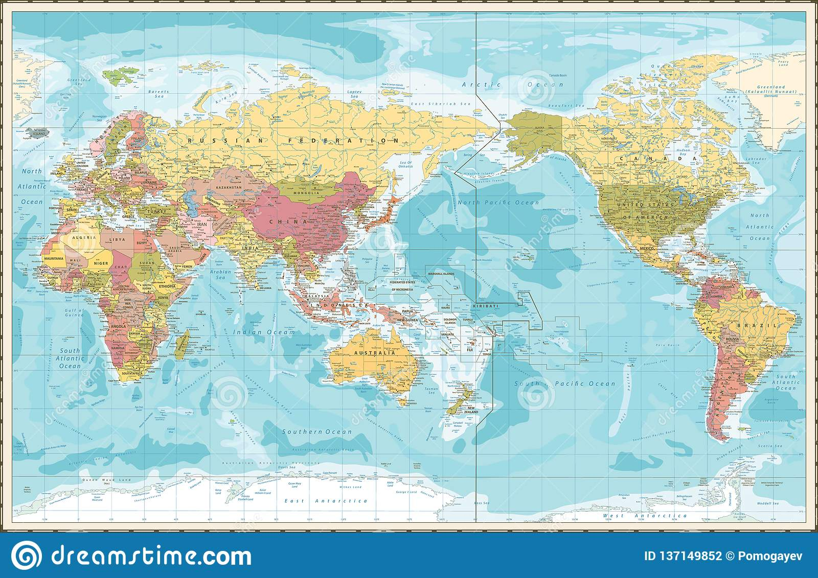 World Map Vintage Color Pacific Centred Stock Vector