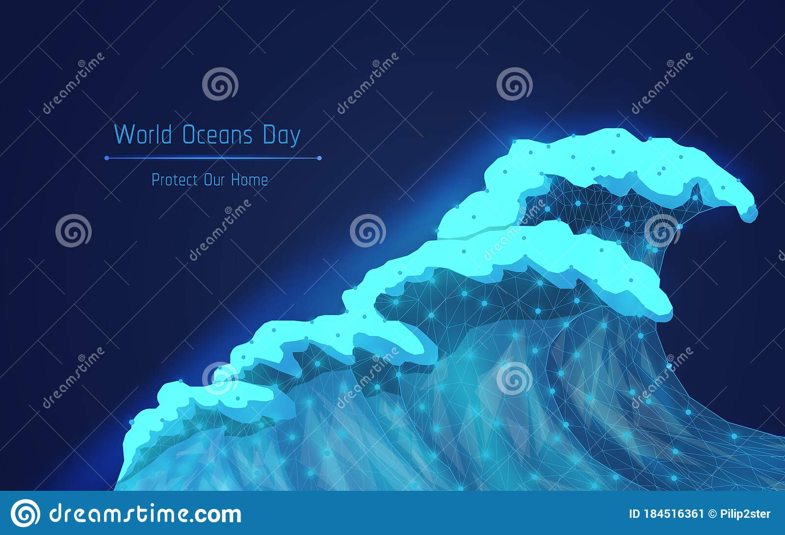 World Ocean Day A Big Blue Wave With Different Tints Of
