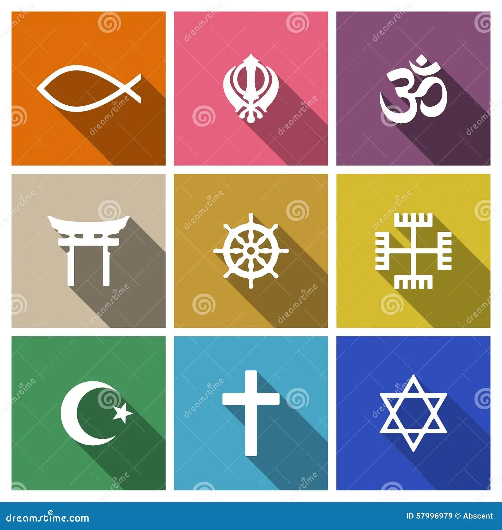 World Religion Symbols Flat Set Stock Vector