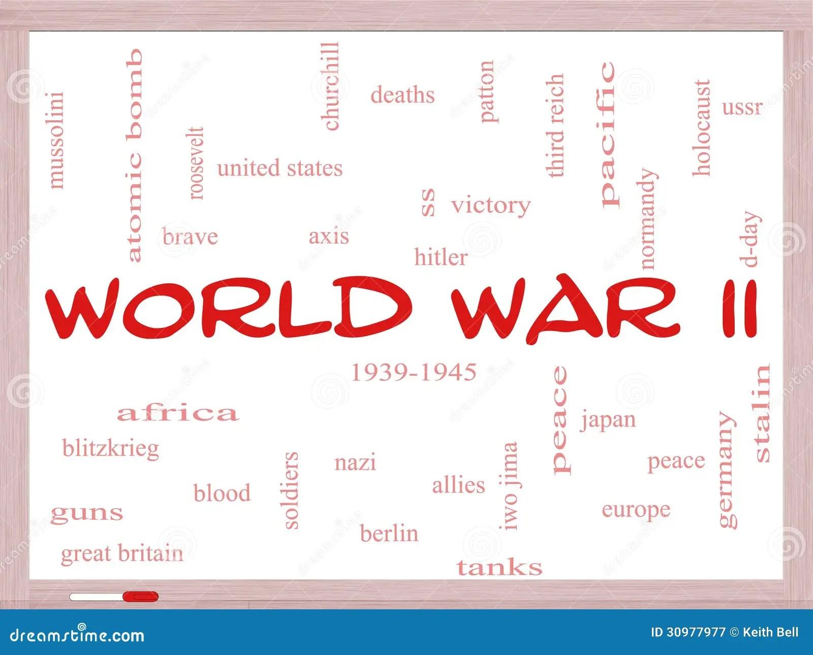 World War Ii Word Cloud Concept On A Whiteboard Royalty