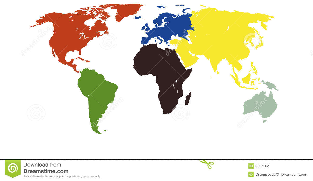 worldmap every continent in a different every continent is