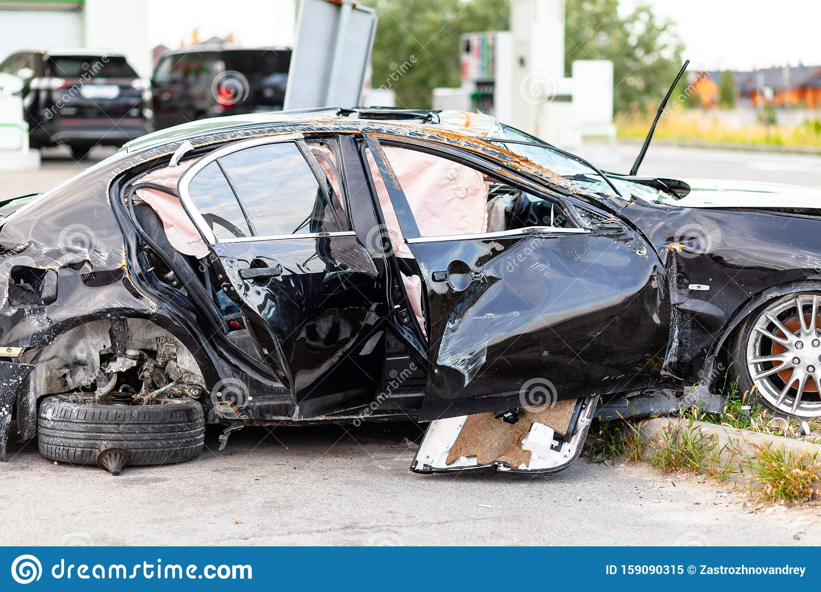Wrecked Car On Side Of Highway Safety On Road Accident Or Crash Stock Image Image Of Bender Rescue 159090315