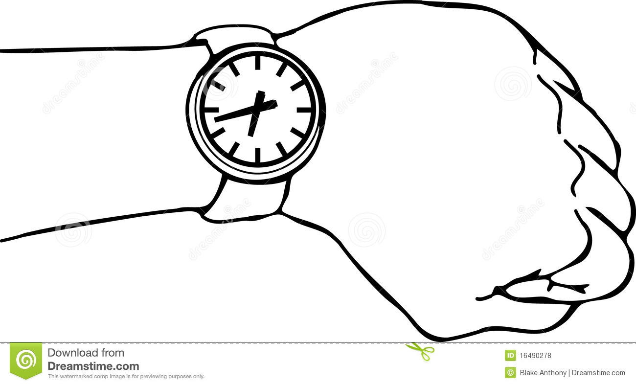 Wrist Watch Arm Stock Vector Illustration Of Late Watch