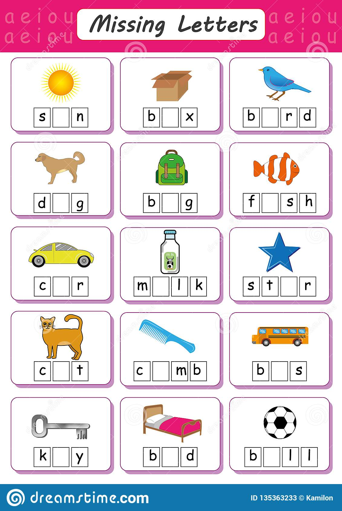Write Missing Letter Write The Missing Vowel Worksheet For Kids Fill In The Short Vowel Stock