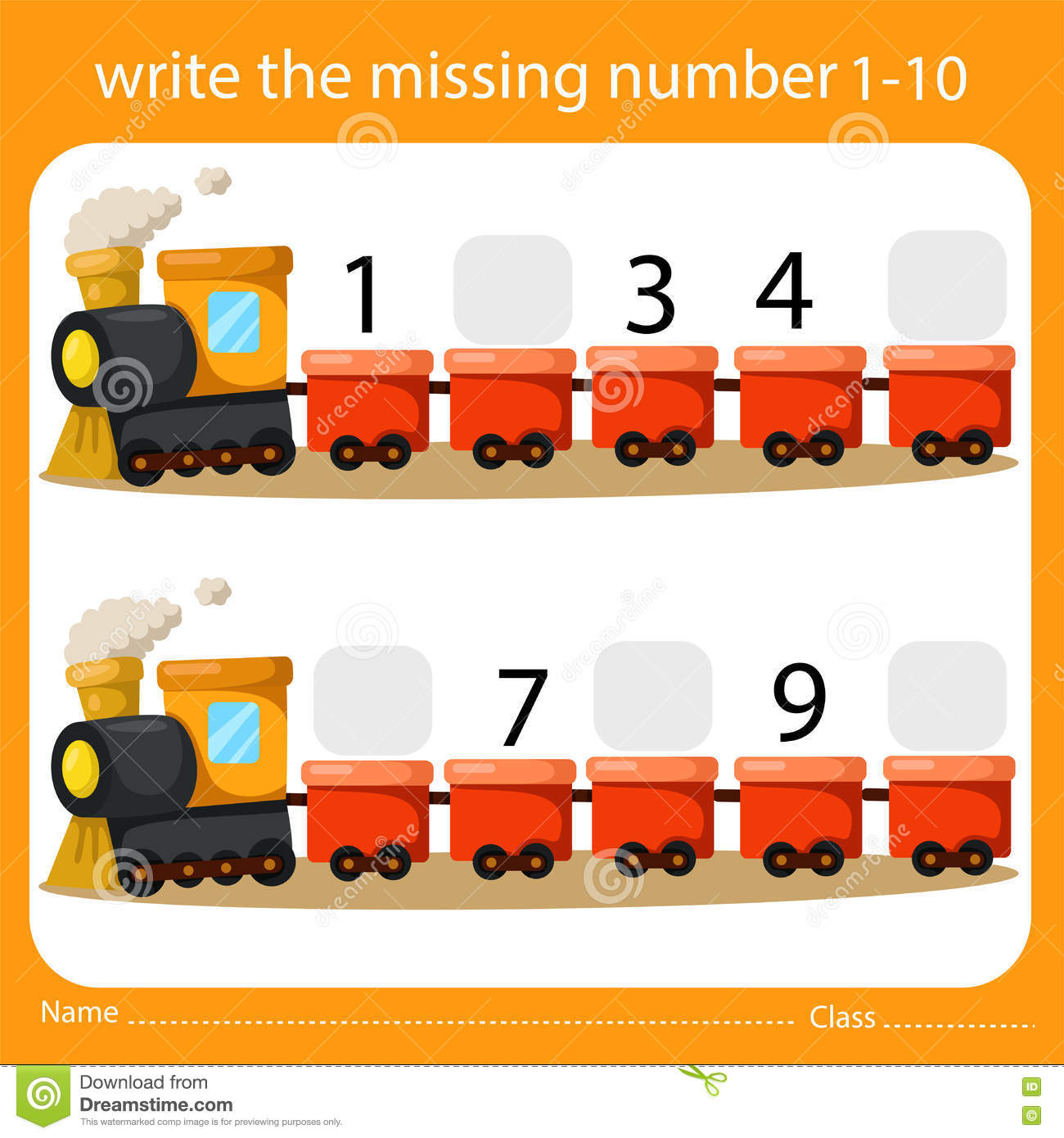 Write The Missing Number One To Ten On Train Stock Vector