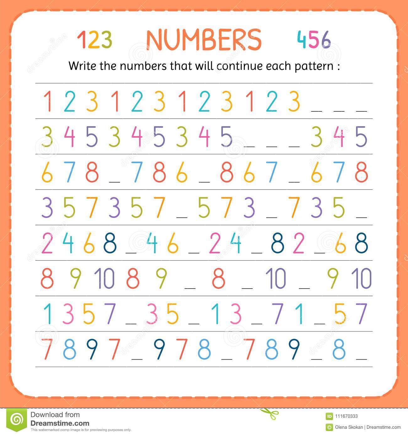 Write The Numbers That Will Continue Each Pattern Numbers