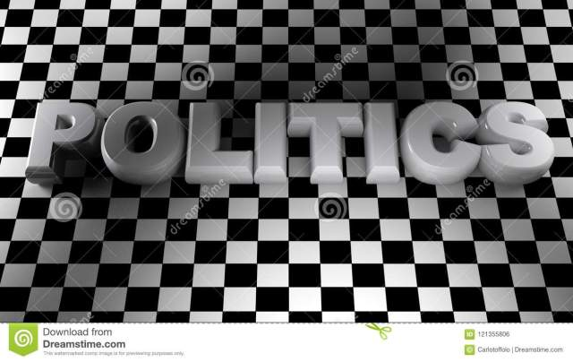 POLITICS White Write On Squared Surface - 30D Rendering Stock