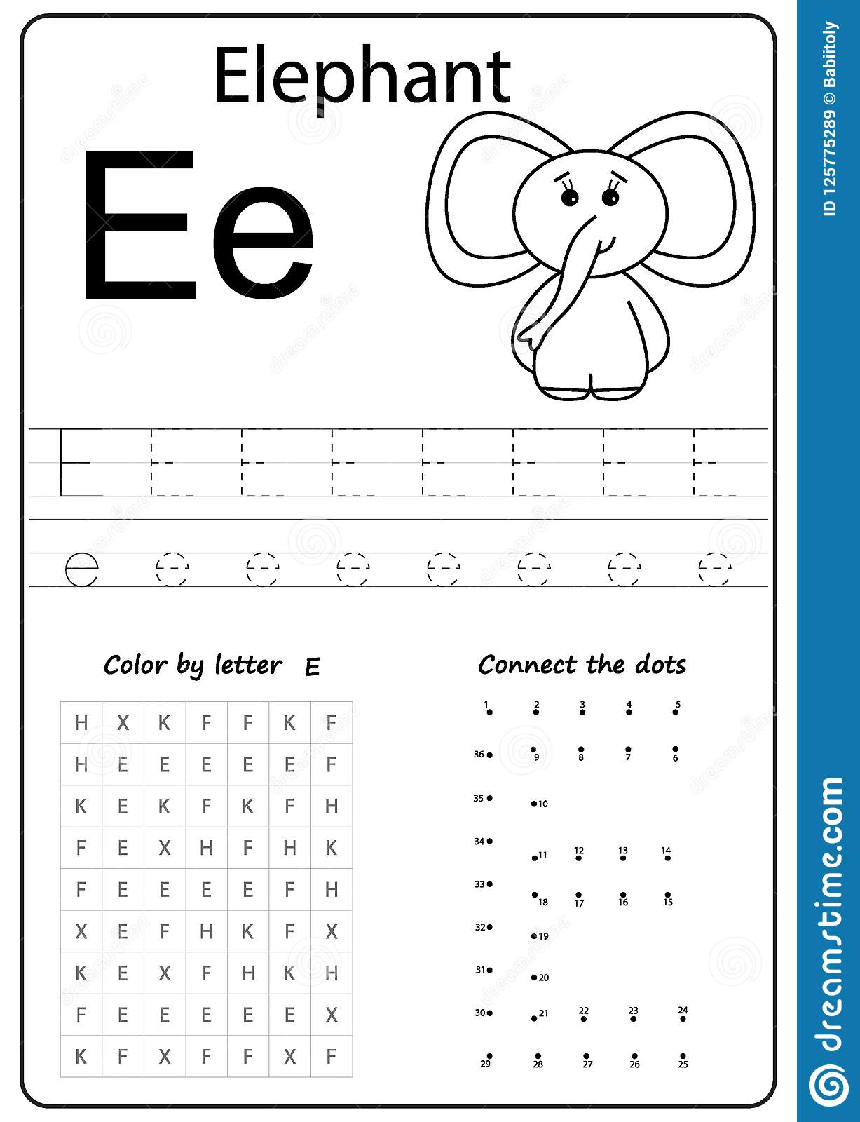 Worksheet Letter E