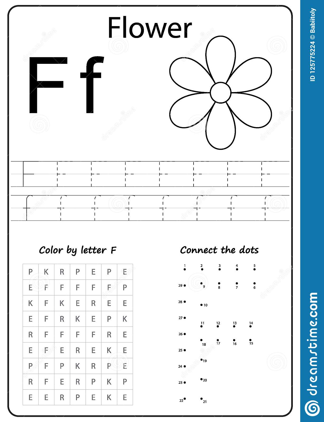 Writing Letter F Worksheet Writing A Z Alphabet Exercises Game For Kids Stock Vector