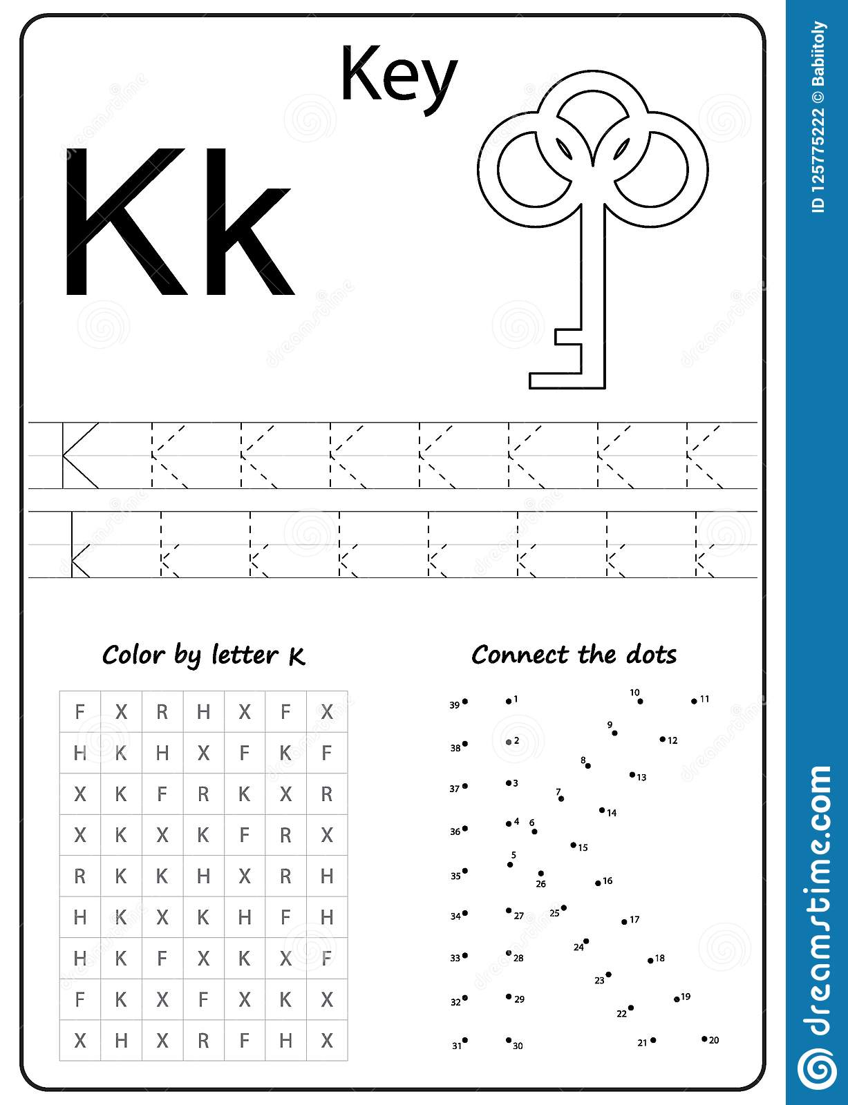 Writing Letter K Worksheet Writing A Z Alphabet Exercises Game For Kids Stock Vector