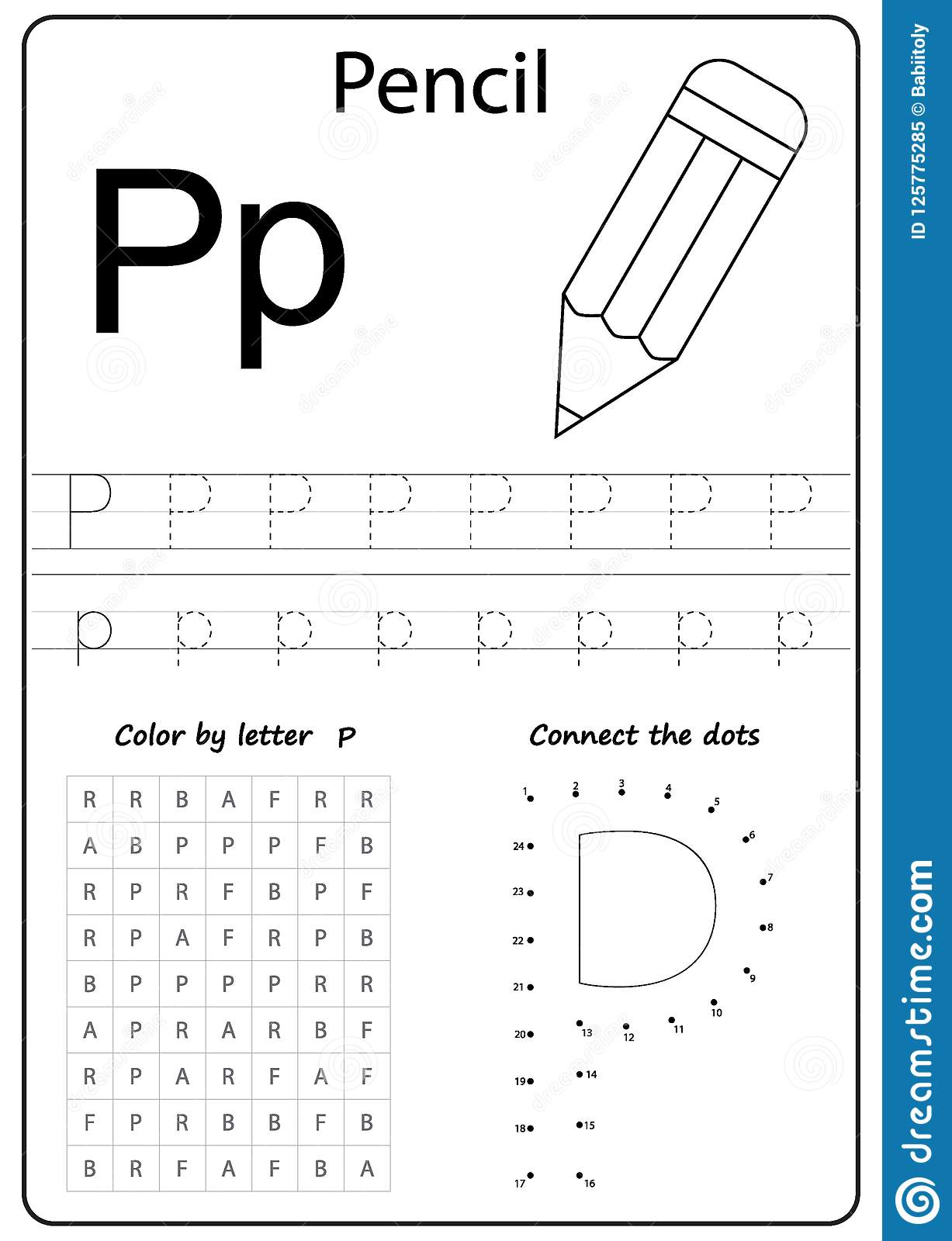 Writing Letter P Worksheet Writing A Z Alphabet Exercises Game For Kids Stock Vector