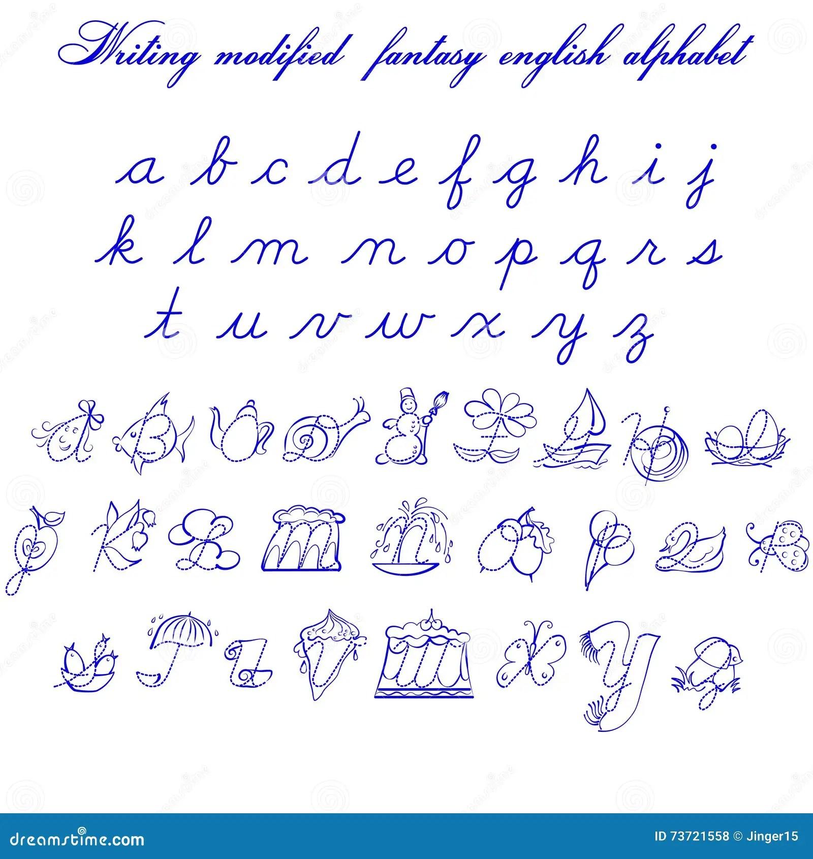 Writing Modifyed Fantasy English Alphabet Illustration