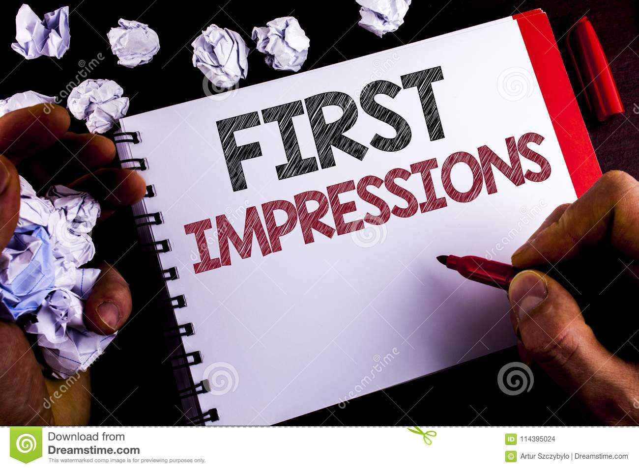 Writing Note Showing First Impressions Business Photo