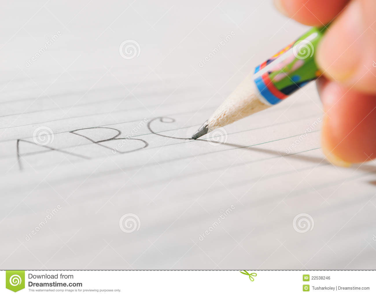 Writing On A Paper By A Pencil Stock Photo