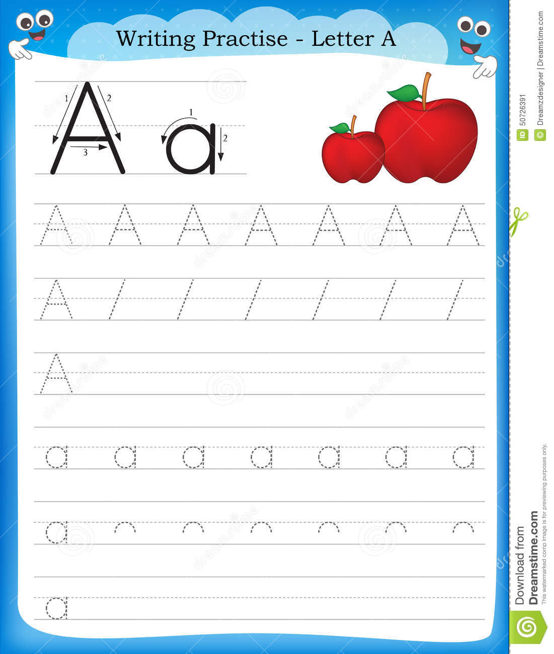 Writing Practice Letter A Stock Vector Illustration Of Preschool