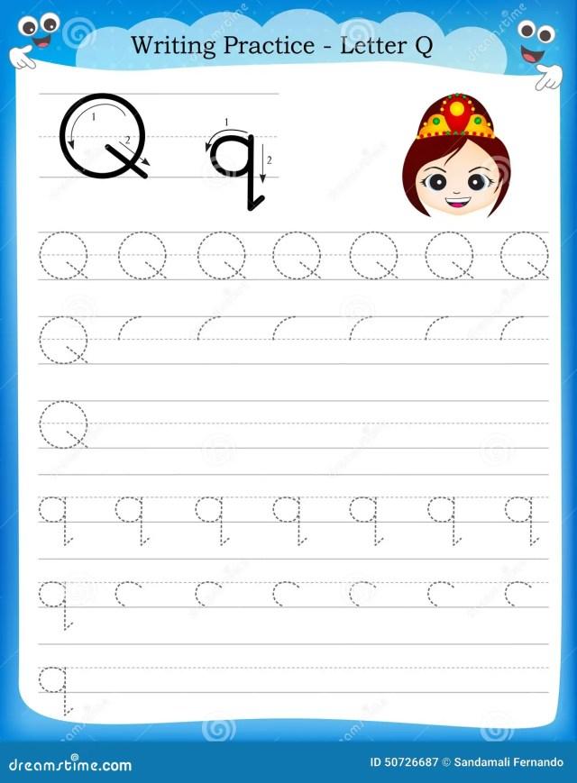 Writing practice letter Q stock vector. Illustration of kids