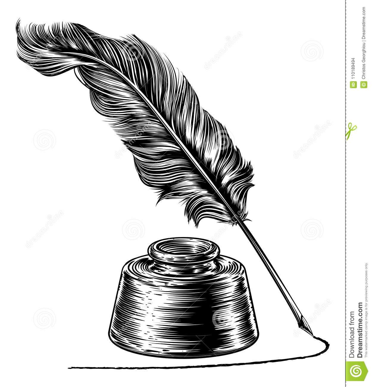 Writing Quill Feather Pen And Ink Well Stock Vector