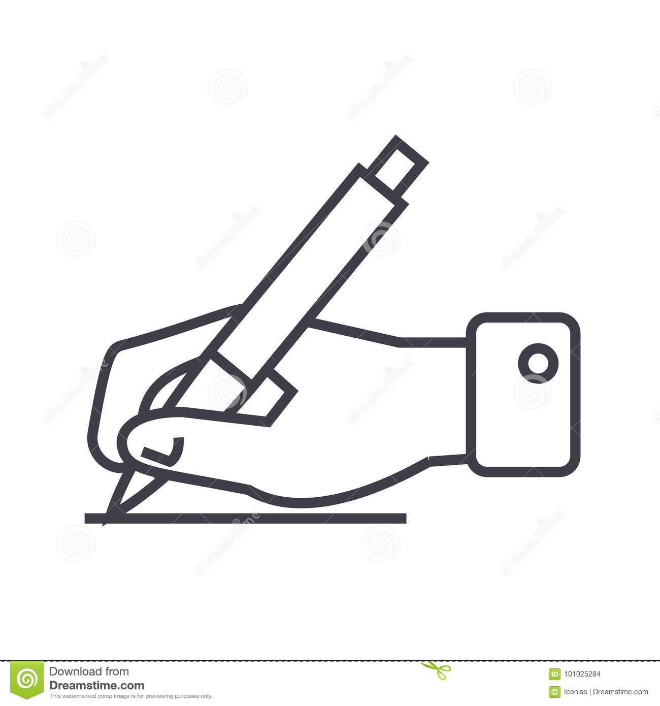 Writing Sign Hand With Pen Vector Line Icon Sign