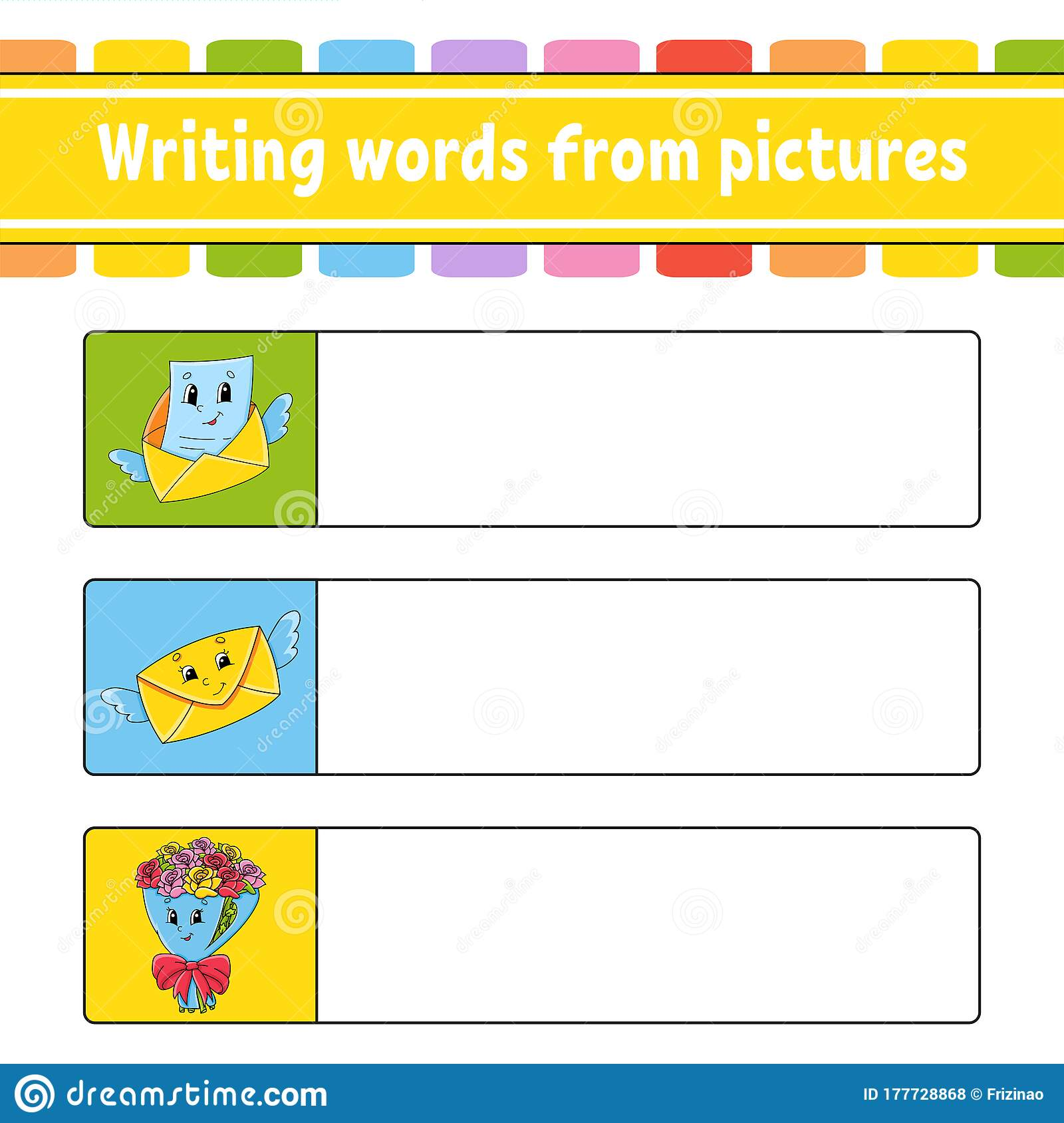 Writing Words From Pictures Envelope Bouquet Education