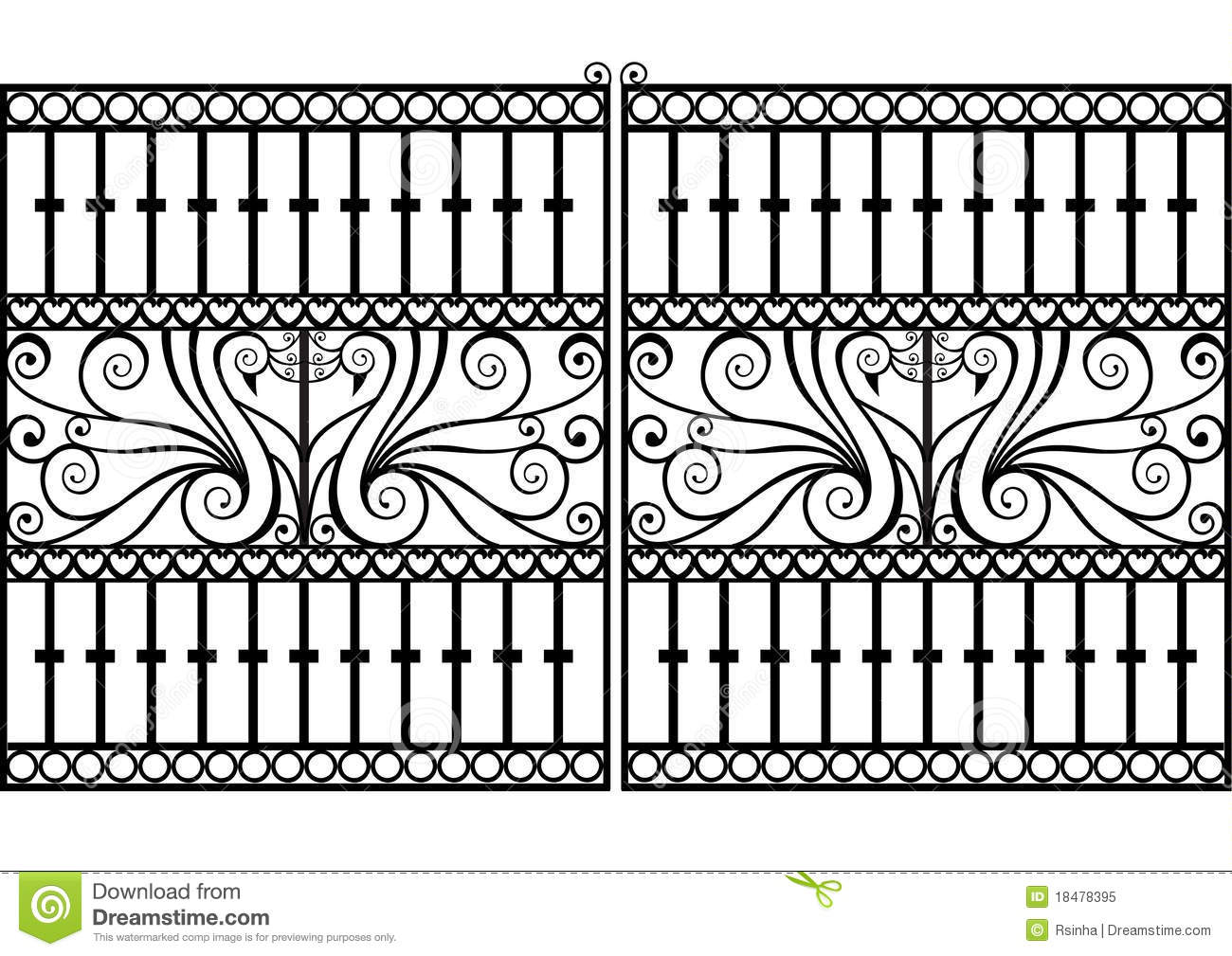 Wrought Iron Fence Or Gatector Eps Stock Vector