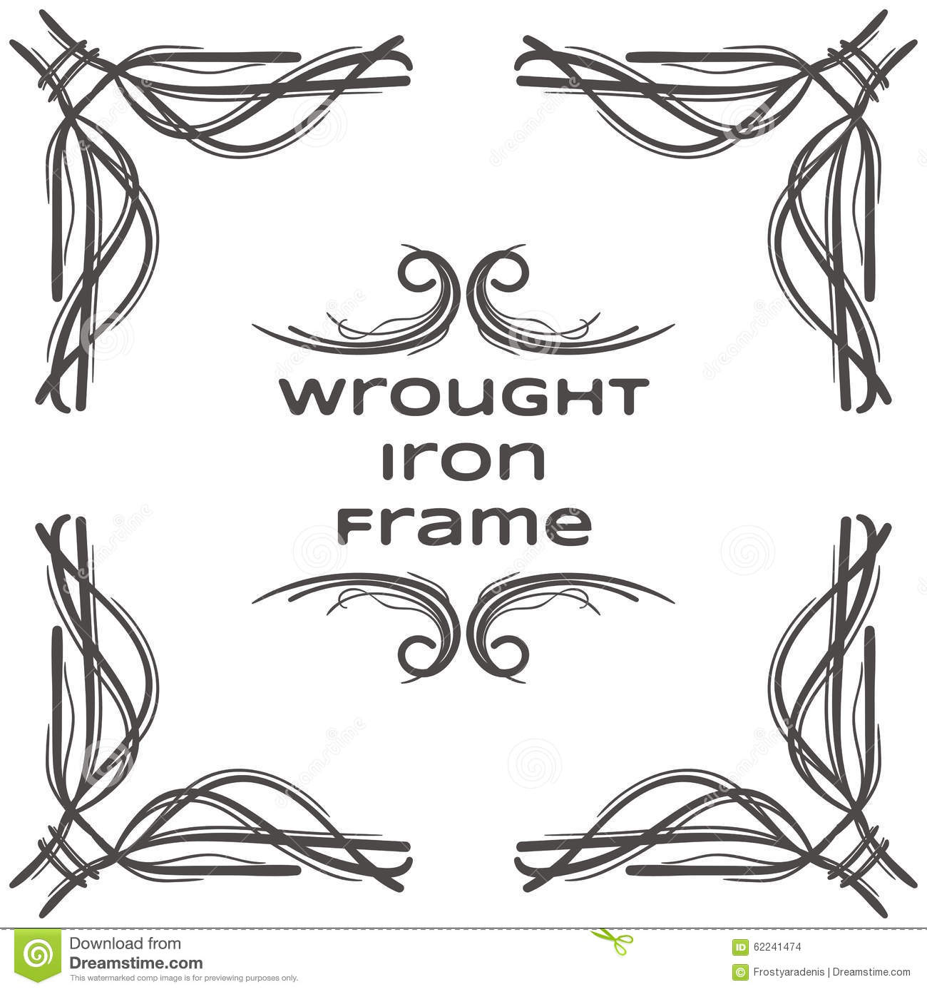 Wrought Iron Frame Five Cartoon Vector