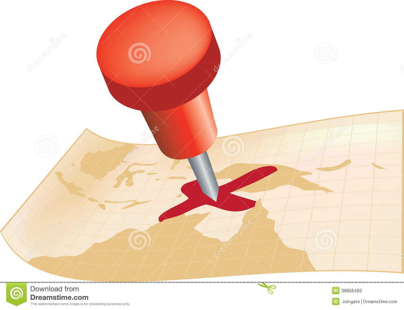 X Marks The Spot With A Pin On A Map Stock Illustration