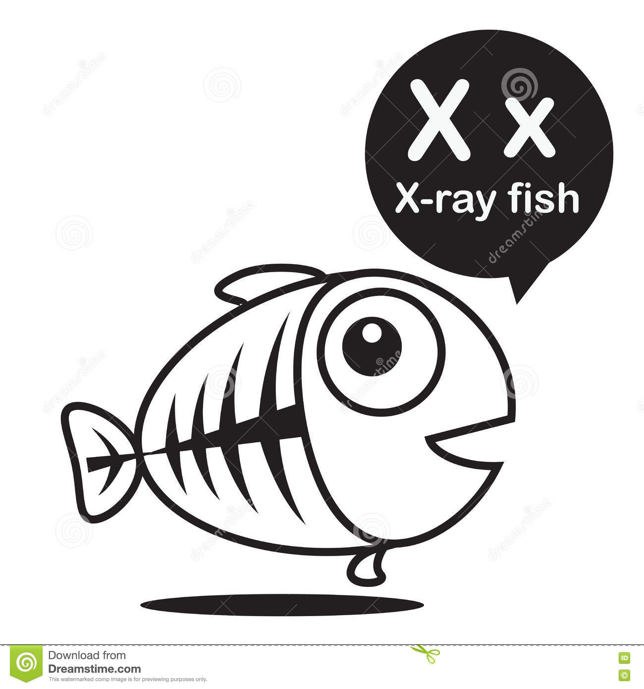X X Ray Fish Cartoon And Alphabet For Children To Learning