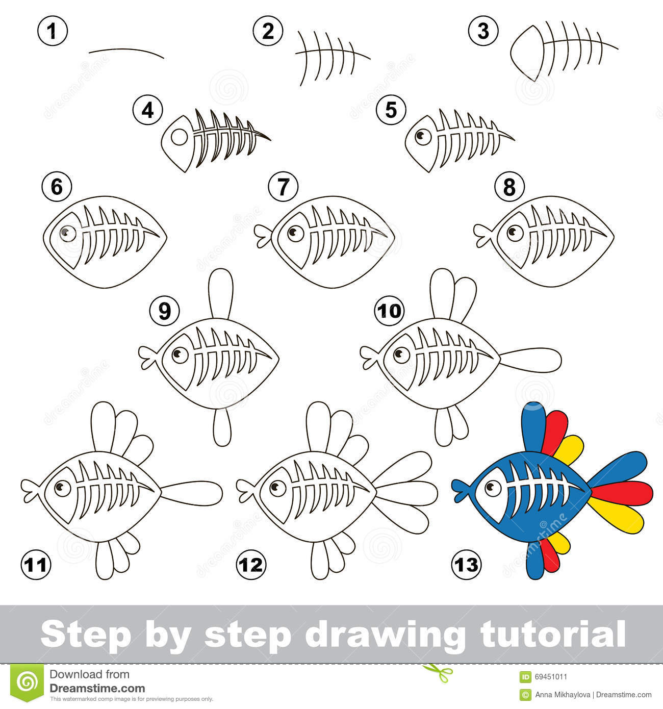 X Ray Fish Drawing Tutorial Stock Vector