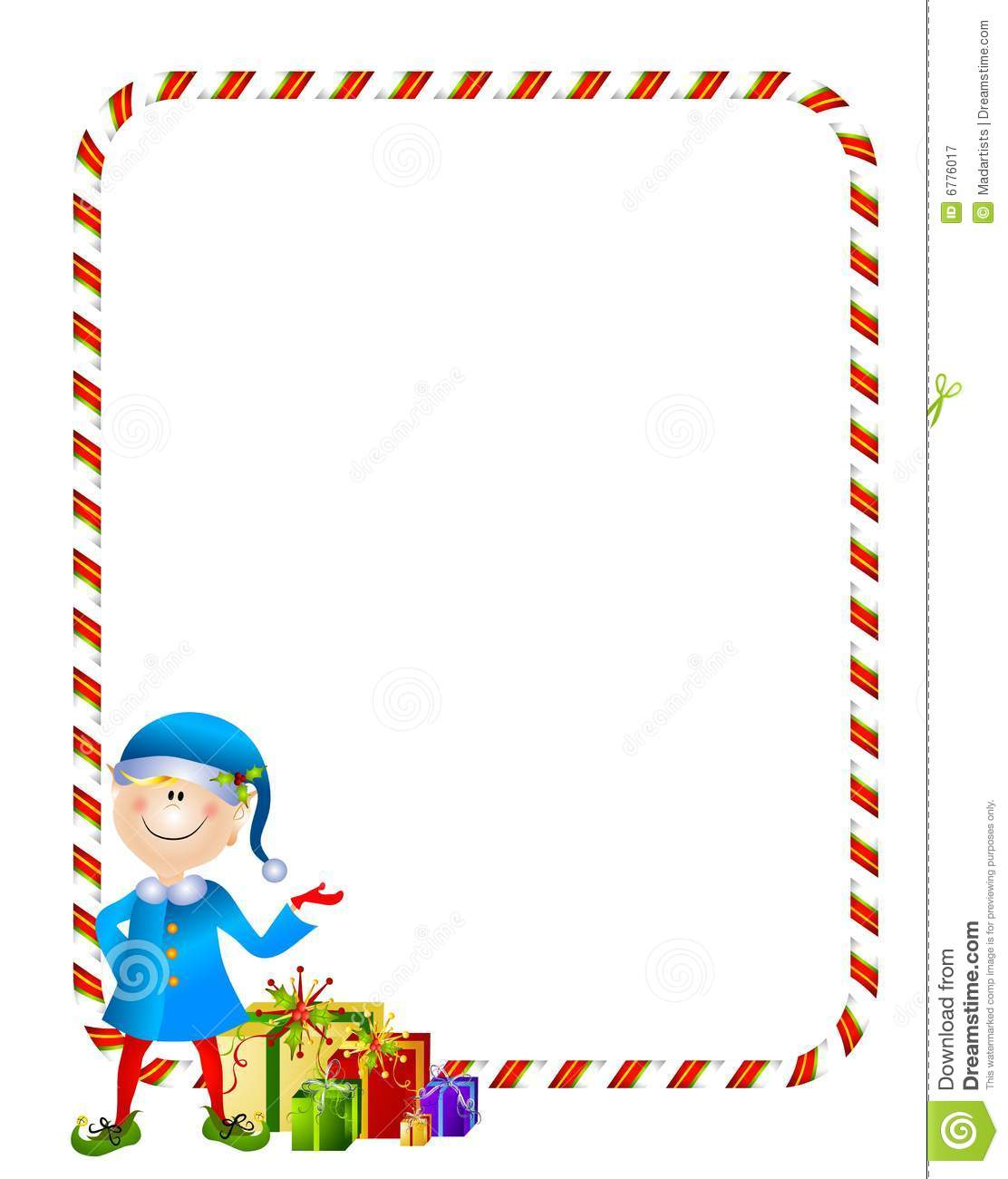 Xmas Elf With Ts Border Stock Vector Illustration Of