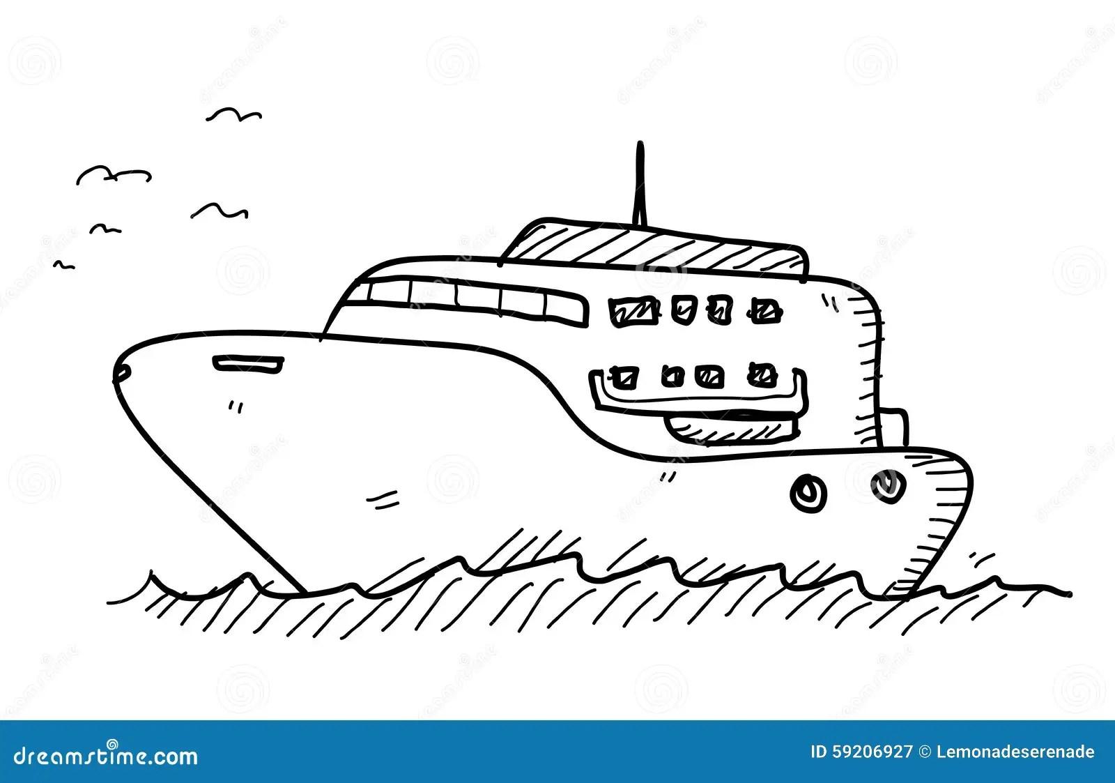Yacht Gekritzel Vektor Abbildung Illustration Von