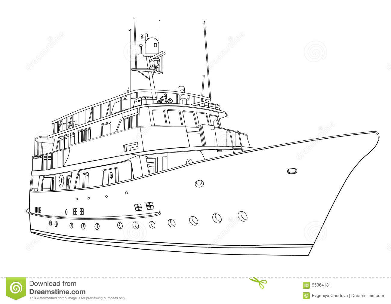 Yacht Vector Contour Silhouette Ship On White Background