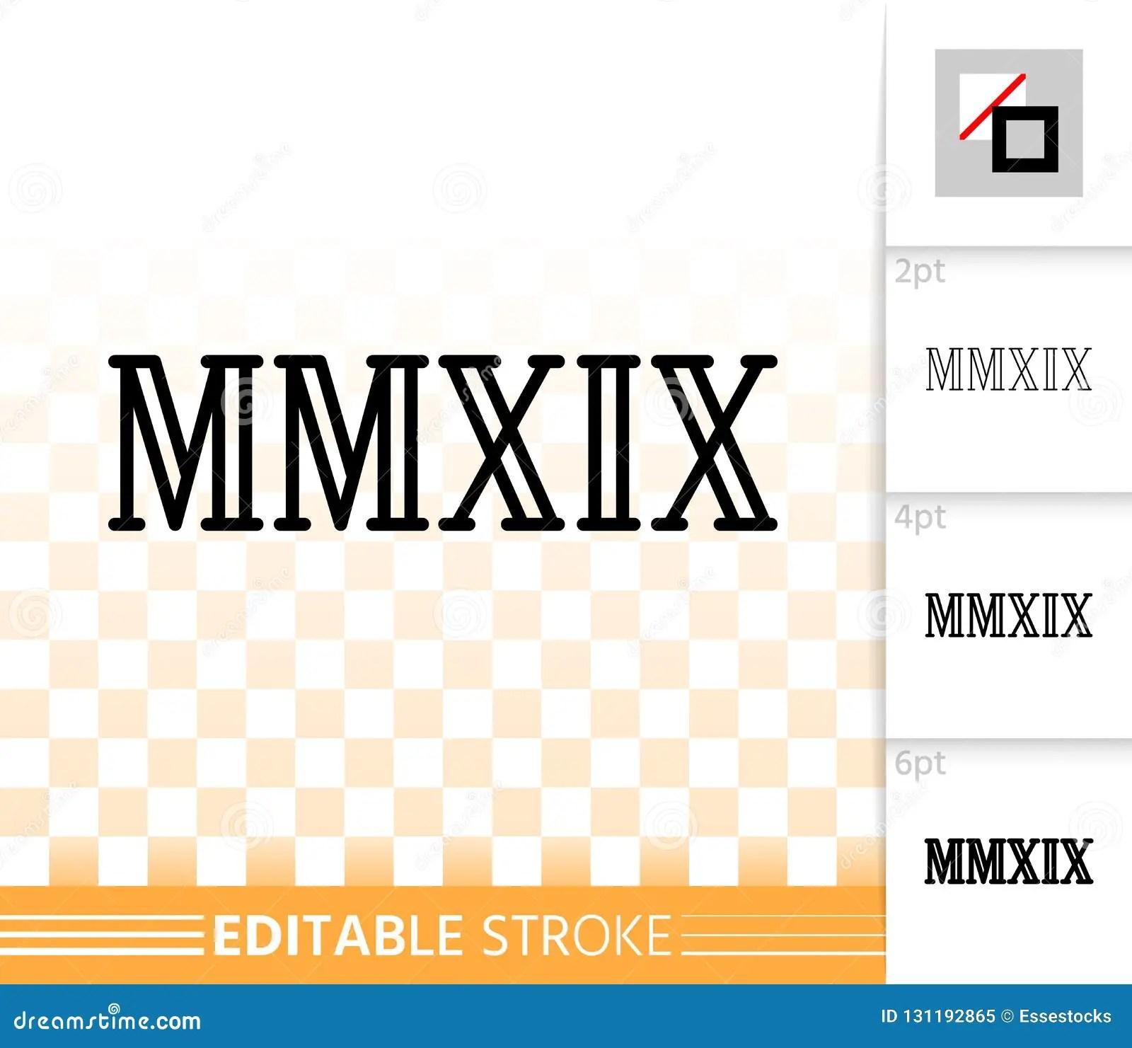 Year Mmxix Simple Black Line Vector Icon Stock Vector