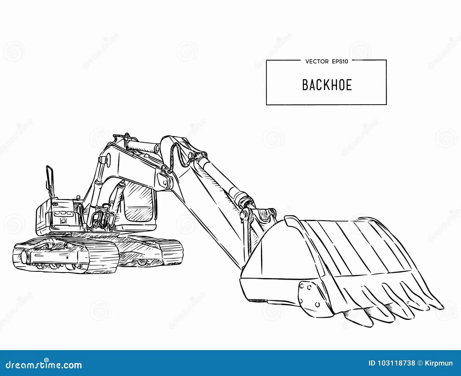 Yellow Backhoe Loader Sketch Vector Stock Vector