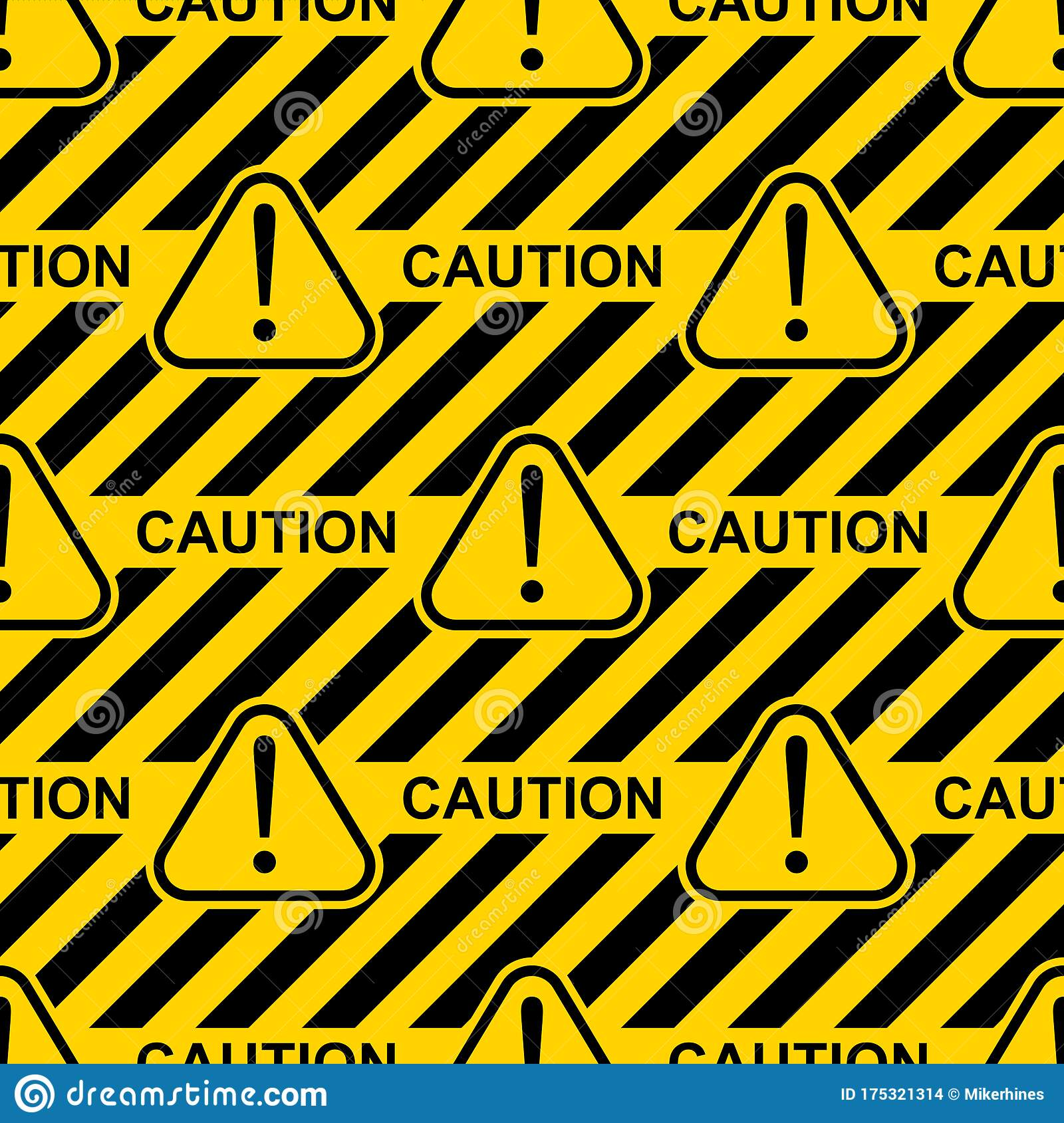 Yellow And Black Caution Sign And Symbol Seamless Pattern