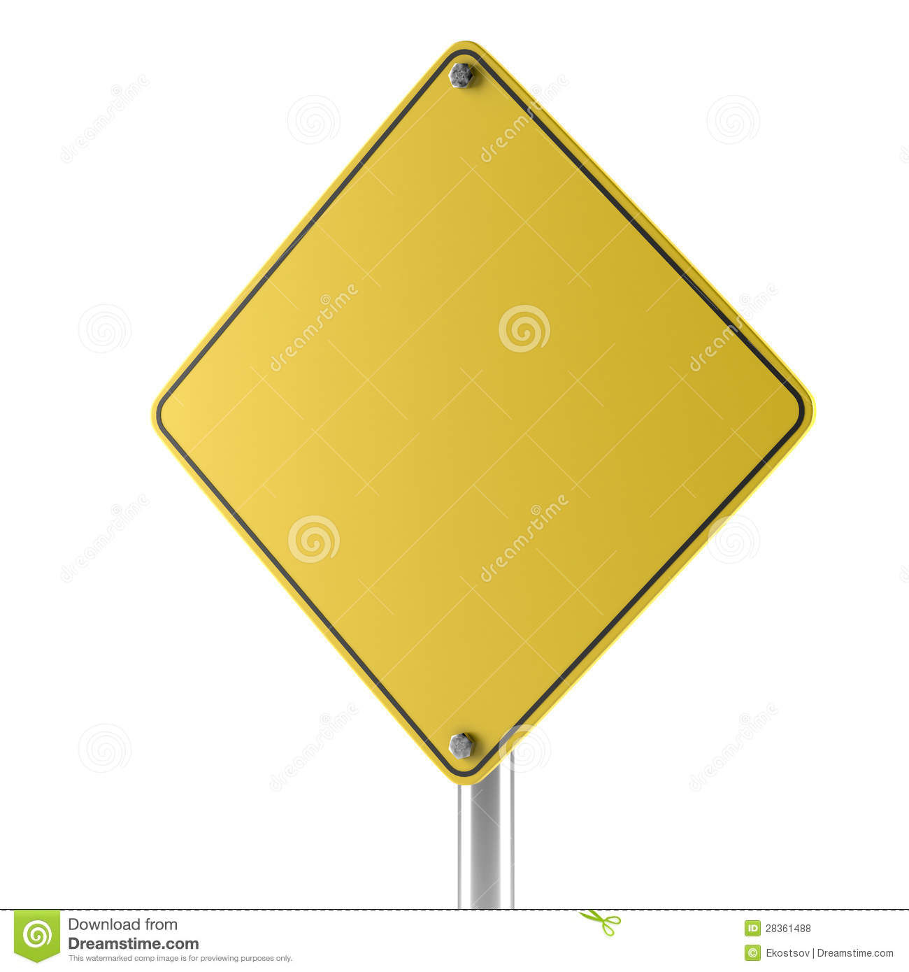 Yellow Blank Isolated Caution Sign Stock Illustration