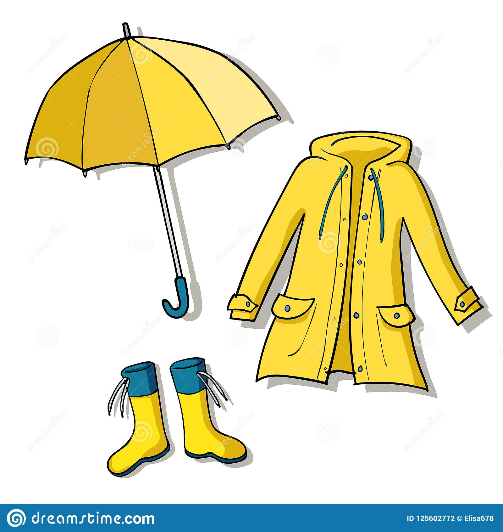 Yellow Rainy Weather Clothes Collection Stock Vector