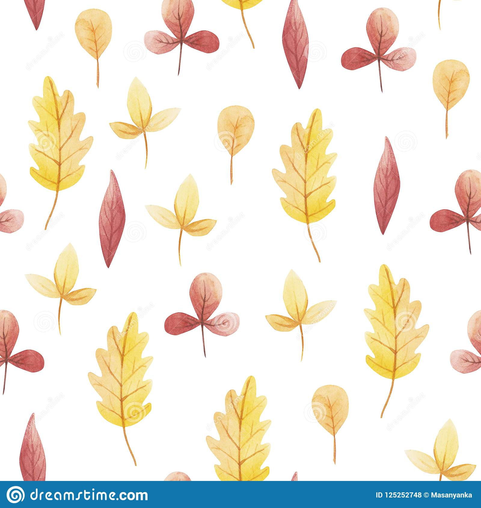 Yellow And Red Leaf Of Watercolor Seamless Pattern Hello