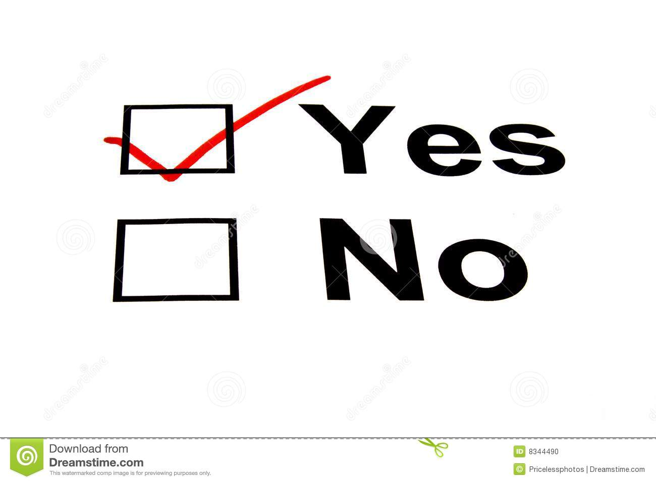 Yes Checkbox Selected