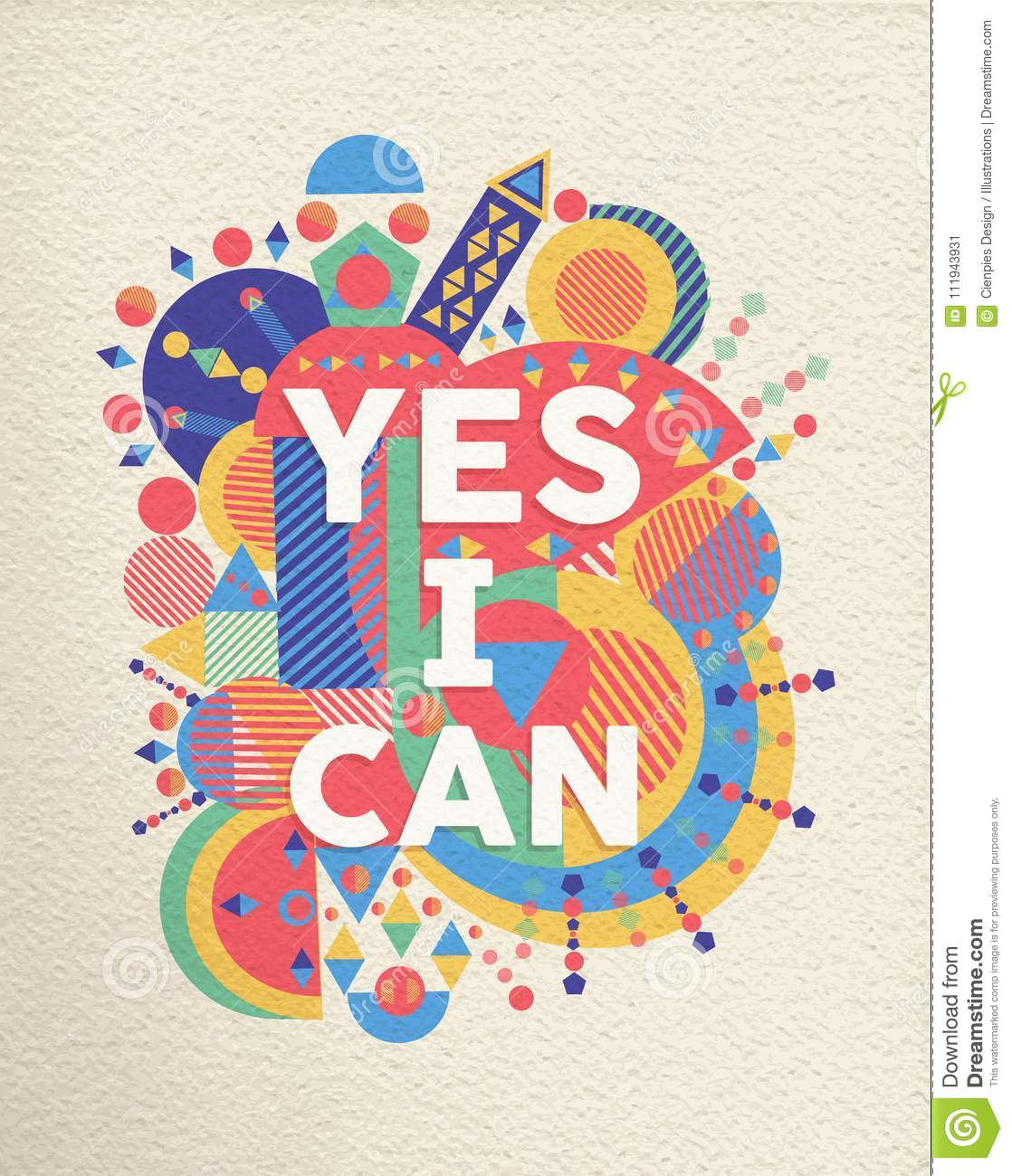 Yes I Can Positive Art Motivation Quote Poster Stock
