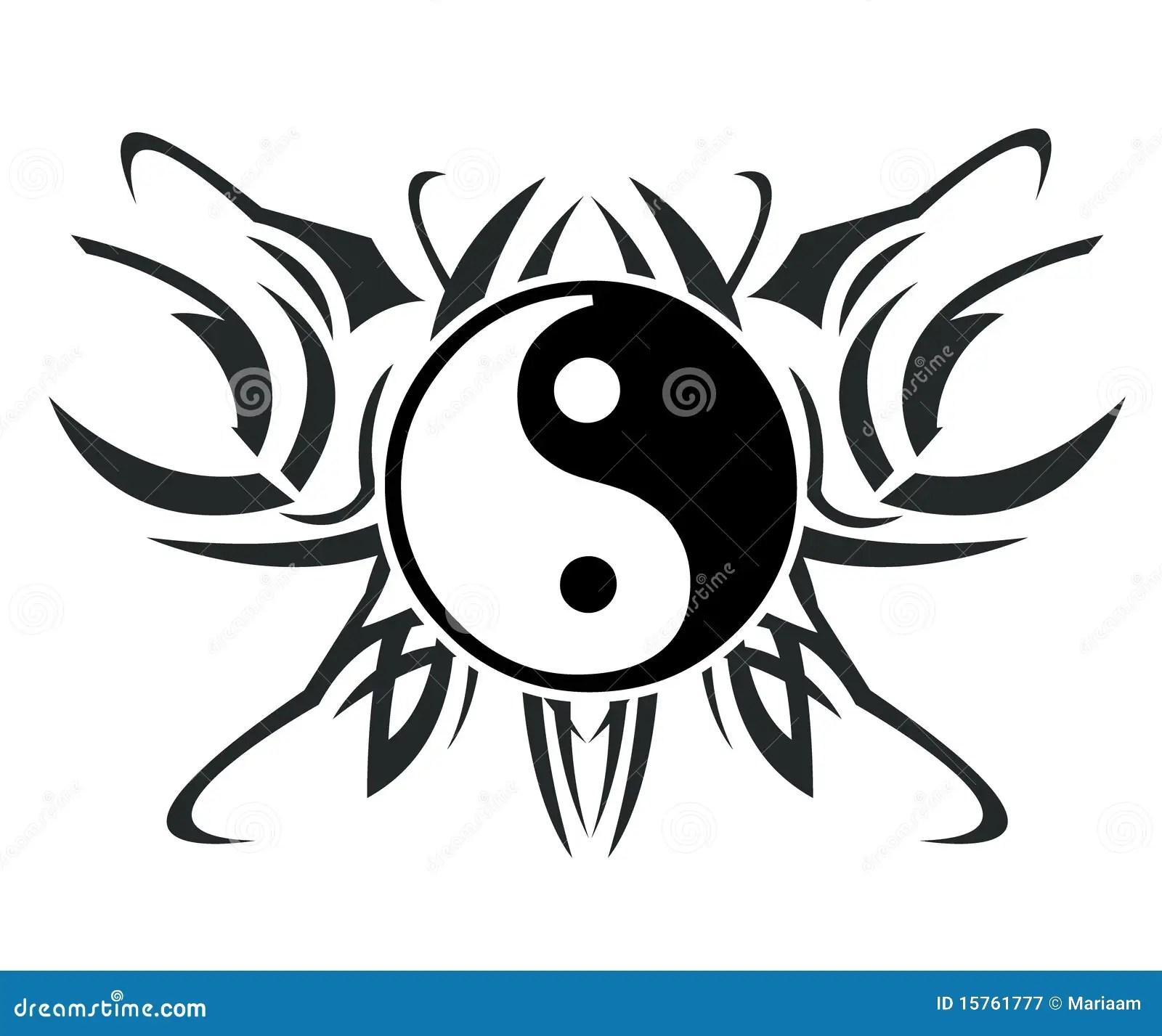 Yin Amp Tatuaggio Del Yang Illustrazione Di Stock