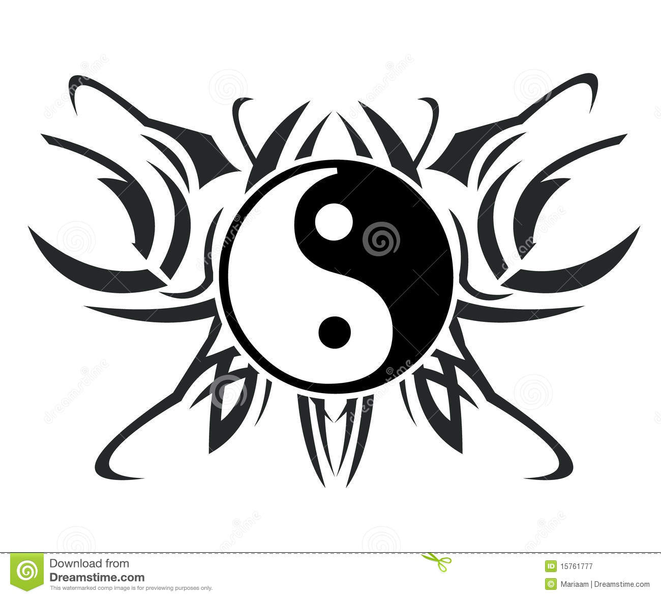 Yin Amp Yang Tatoegering Stock Illustratie Illustratie