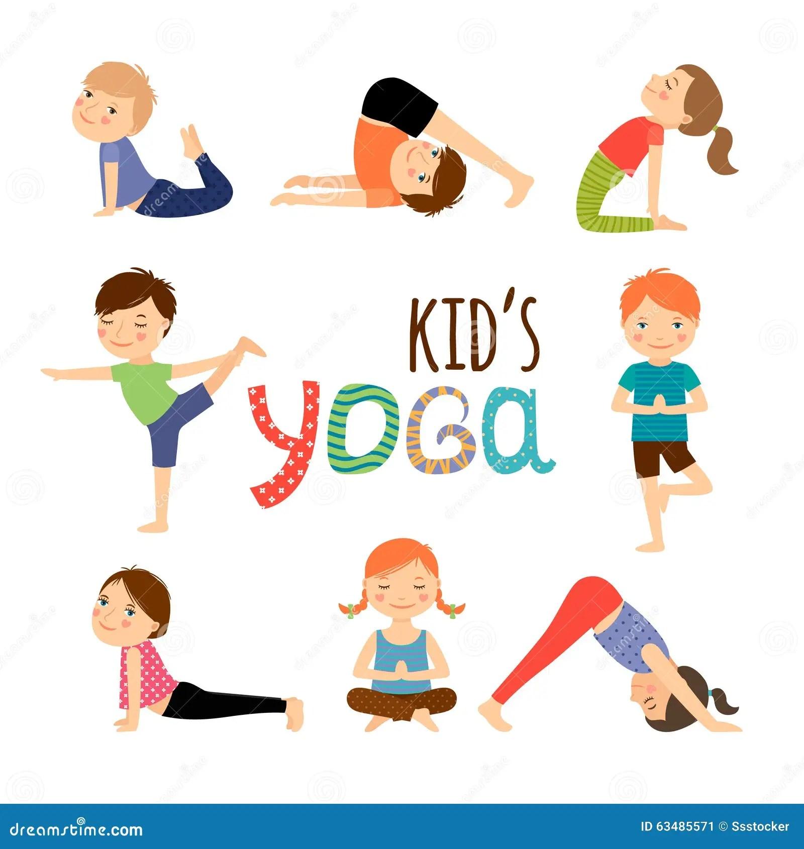 Yoga Kids Set Stock Vector Illustration Of Design