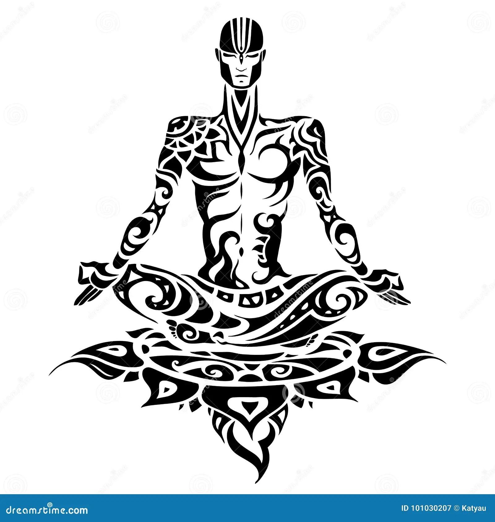 Meditation Yoga Man Silhouette Stock Illustration